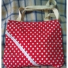กระเป๋าสะพายเล็กสีแดงลายจุดขาว