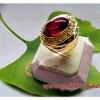 แหวนทับทิมหลังเบี้ย หรือเพชรพญานาค ล้อมเพชร gold plated 0.5microns
