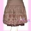 ^Big SALE^แบบเก๋ SB148 Bloom Skirt กระโปรงลายดอกไม้ สีสันสวยเก๋ชายแต่งลูกไม้ ผ้าคอนตอนรีดง่าย เฉดน้ำตาลกะปิ