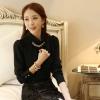 เสื้อเชิ้ตทำงานแขนยาวสีดำ คอเต่าประดับพลอย เรียบหรู