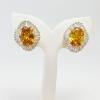 INSPIRE JEWELRY ต่างหูบุษราคัม ล้อมเพชรสวิส ฝังหนามเตย หุ้มทองแท้ 100% or gold plated/diamond clonning