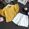 ชุด 2 ชิ้น เสื้อยืดสีเหลืองมัสตาร์ด + กางเกงขาสั้น