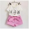 ชุด 2 ชิ้น เสื้อลายกระต่ายตาหวาน + กางเกงสีชมพูสดใส