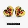 INSPIRE JEWELRY ต่างหูทองลงยา ขาปักก้าน งานจิวเวลลี่แบบร้านทอง พร้อมกล่องทองกลมสีแดง