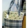 กระเป๋าสะพายทรงถังผ้าญี่ปุ่นลายดอกต่อด้วยลายสก๊อต