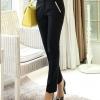 กางเกงทำงานผู้หญิงขายาว สีดำเอวน้ำตาล ผ้าใส่สบาย