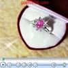 แหวนพลอยชมพูล้อมเพชรเนื้อเงิน silver plated