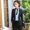ชุดสูทผู้หญิงแขนยาวพนักงานออฟฟิต เสื้อสูทมีปกสีดำ พร้อมกางเกงสูทสีดำ