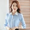 เสื้อเชิ้ตผู้หญิงแขนยาว สีฟ้า ปกสีขาว เป็นชุดทำงานชุดยูนิฟอร์มได้