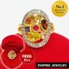 Inspire Jewelry ,แหวนพลอยนพเก้าล้อมเพชรสวิส หน้ากว้าง 1.5x2cm งานปราณีต ตัวเรือน หุ้มทองแท้ 100% 24K สวยหรู พร้อมกล่องกำมะหยี่ สำหรับการแต่งกายชุดไทย ชุดประจำชาติ บุพเพสันนิวาส การะเกตุ ชุดที่ต้องการความหรูหรา ดูมีเสน่ห์ แสดงความเป็นไทย งานอนุรักษ์ไทย