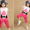 ชุดเด็กโต เสื้อพร้อมกางเกง สีชมพู มีไซส์ 120