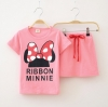เซต 2 ชิ้น เสื้อสกรีนลายโบว์ MINNIE + กระโปรงสีชมพู