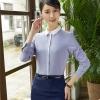 เสื้อเชิ้ตทำงานผู้หญิงแขนยาวเรียบหรู สีเทาคลิปสีขาว