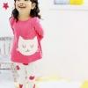 ชุดเด็กผู้หญิง สไตล์เกาหลี สีชมพู ลายแมว มีไซส์ 100 110 120 130 140