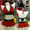 Sexy Matching Set Top with Skirt. Color Matching : Red/Black with Fashion Belt