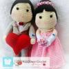ตุ๊กตาแต่งงานถักโครเชต์(คน-สูง45ซ.ม.)