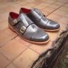 รองเท้าผู้ชาย | รองเท้าแฟชั่นชาย Gray Double Monk Strap หนังแท้ ขัดเงา