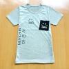 ขายส่ง:เสื้อยืดคอกลมแบบน่ารักแต่งเป๋าสกีนยิ้ม/อก34