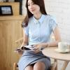 เสื้อทำงานผู้หญิงแขนสั้น สีฟ้า