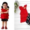 ชุดเด็กผู้หญิง เสื้อแดงมีระบาย พร้อมกางเกง มีไซส์ 80