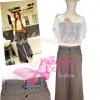 ไซส์36 [เอาใจสาวอวบ] LPB267-36 Wide Pants กางเกงขาบาน/กางเกงกระโปรง เอวสูงเก็บหน้าท้องดีสวยผ้านอกไม่ต้องรีด สีน้ำตาล