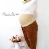 กางเกงลูกฟูกคนท้องขา5ส่วนOldnavy Maternty Full Panel พับขาสีBrown
