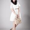 [[พร้อมส่ง]] Dresswhite0289 : Dress Sweet Dream of White เดรสคอปก เว้าไหล่ ฉลุลูกไม้ลายสวยหวานน่ารักรักมากกกคร่า..