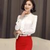 เสื้อทำงานผู้หญิงแขนยาวสีขาว แฟชั่นสวยเรียบหรู