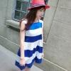 """""""พร้อมส่ง""""เสื้อผ้าแฟชั่นสไตล์เกาหลีราคาถูก เดรสลายขวางสีขาว-น้ำเงิน ผ้ามัน แขนกุด ไม่มีซับใน"""