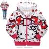 เสื้อกันหนาวเด็ก ลาย kitty ขอบสีแดง 95 100 110 120 130 140