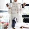 เสื้อคอจีนแต่งระบายสไตล์เกาหลี(เกรดA)