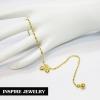 Inspire Jewelry สร้อยข้อเท้าทองลายดิสโก้ ห้อยหัวใจ 2ดวง และกระดิ่ง 1 ลูก ยาว 23cm. หุ้มทองแท้ 100% gold plated พร้อมถุงกำมะหยี่