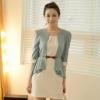 """""""พร้อมส่ง""""เสื้อผ้าแฟชั่นสไตล์เกาหลีราคาถูก Brand Chuvivi เดรสสีขาวครีมเย็บติดกับเสื้อสีฟ้าแขนยาว ระบายเอวด้านหน้าสั้นด้านหลังยาว ซิปหลัง มีซับใน มีเข็มขัดให้ค่ะ -size M"""