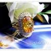 แหวนบุษราคัมล้อมเพชร/gold plated 5microns/white gold plated