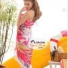 ผ้าคลุมชายหาดลายดอกไม้ Blossom : สีชมพูพื้นขาว AB0006