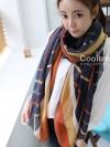 ผ้าพันคอลายทาง Strip Zigzag scarf : ผ้าพันคอ Viscose - size 160x75 cm - สีน้ำเงิน