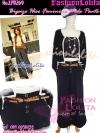 ไซส์34 [เอาใจสาวอวบ] LPB269-34 Wide Pants กางเกงขาบาน/กางเกงกระโปรง เอวสูงเก็บหน้าท้องดีสวยผ้านอกไม่ต้องรีด สีดำ