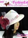 2in1 CH105 ใหม่! หมวกสานแต่งดอกไม้หรู(ถอดได้) ไอเท็มสาวเก๋สไตล์วินเทจ และสไตล์สาวญี่ปุ่น/เกาหลี