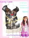 #หมด# <แบบสาวเกรซ>TB129X ::Babydoll Lace ใหม่! เสื้อแขนตุ๊กตาผ้าลูกไม้เกาหลี ผูกโบใต้อก สีดำ