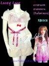#หมด# <แบบสาวเกรซ>TB131X ::Babydoll Lace ใหม่!  เสื้อแขนตุ๊กตาผ้าลูกไม้เกาหลี ผูกโบใต้อก สีขาวชมพู