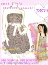 #ใหม่มาแรง#ผ้าคอตตอนนอกเนื้อดีคัตติ้งเนี๊ยบ DB739 HiSo-Chanel Styleชุดแซกเกาะอกลายเสือ ชายสองชั้น เพิ่มความหรู ด้วยโบผ้าซาติน สไตล์งานตัดไม่ซ้ำใคร B