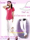 #SKINNYฮิตฮอตแฟชั่นเกาหลีเก๋สุดๆ PB195 ClassicSkinny กางเกงสกินนี่ Skinny ผ้ายืดเนื้อหนาผ้านิ่ม รุ่นนี้ทรงสวยใส่สบาย ไม่มีไม่ได้แล้ว สีขาว ไซส์ XL