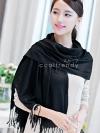 ผ้าพันคอ ผ้าคลุมพัชมีนา Pashmina scarf size 160 x 60 cm - สีดำ