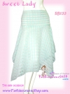 #มีเสื้อ-กระโปรงเข้าเซ็ท# เชียร์แบบตัดส่งนอกขายดีมาก SB133 Sweet Skirt กระโปรงผ้าคอตตอนอย่างดี ลายตารางสีหวาน ชายแหลม Sky