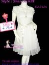#หมด# เชียร์!ไปงานดูเก๋ดูดีค่ะ งานตัดสวย DB242X  Doll Princess  ใหม่! แซคแขนตุ๊กตาผ้าชีฟอง งานตัดละเอียด ดีไซน์เก๋มาก ระบายเป็นชั้นๆ สีขาว