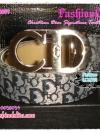 BELT4009 Christian Dior Signature Twotone Belt เข็มขัดดิออร์ สายเข็มขัดสีเทาเงิน ตัวอักษรสีดำน้ำเงิน หัวโลหะเงิน CD สลักแบรนด์ CD