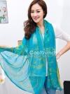 ผ้าพันคอแฟชั่น ลาย Graphic H สีฟ้า ผ้า viscose size 170x70 cm