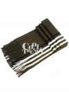 ผ้าพันคอไหมพรมลายทาง wool scarf 180x25 cm - สี dark brown