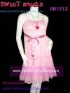<ไปงานสวยไม่ยับ>DB121X ::สไตล์มาช่า ลงนิตยสารทีวีพูล::Sweet Dot DresS ใหม่! แซคผ้าชีฟองอกย่นเจ้าหญิงระบายเป็นชั้นริบบินซาติน ลายจุดขาวพื้นชมพูหวาน