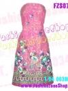 FZS0755 SwEeT Pink Silk-Liked Dress ::สีหวานห SwEeT Pink Silk-Liked Dress ::สีหวานหลายสวยจริงๆ:: ใหม่! แซค เดรส เกาะอกสีชมพูหวาน พิมพ์ลายเป็นของexport
